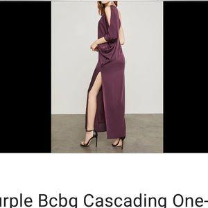 BCBG Max Azria Cascading One Shoulder Gown XXS NWT